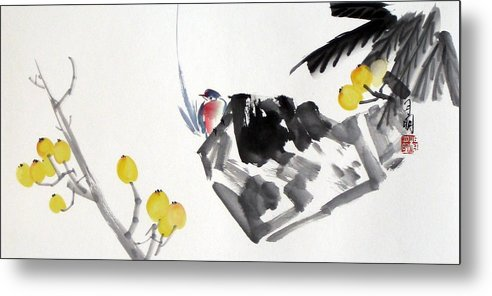 Chinese Painting Metal Print featuring the painting Golden Attraction by Ming Yeung