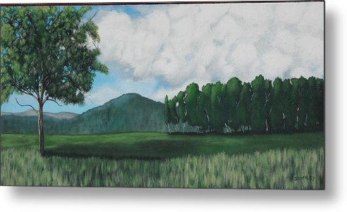 Landscape Metal Print featuring the painting Hedgerow by Candace Shockley