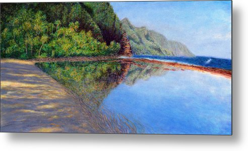 Rainbow Colors Pastel Metal Print featuring the painting Ke'e Morning by Kenneth Grzesik
