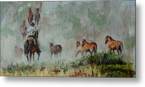 Running Horses Metal Print featuring the painting Keep'm Movin by Stephen David Rathburn