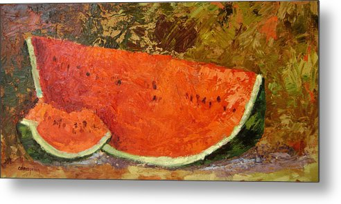 Watermelon Metal Print featuring the painting Last Of Summer by Ginger Concepcion