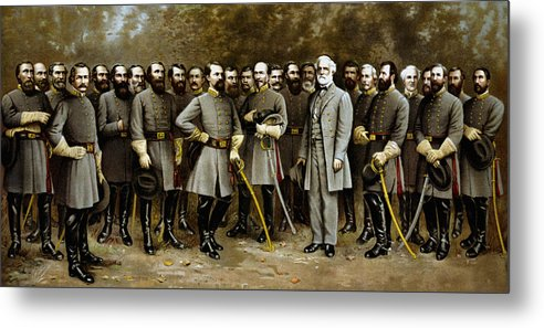 Confederate Metal Print featuring the painting Robert E. Lee And His Generals by War Is Hell Store