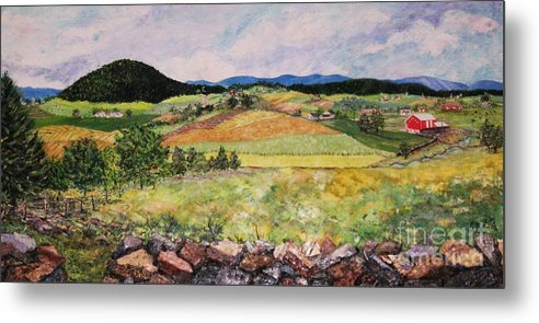 Landscape Metal Print featuring the painting Mole Hill In Summer by Judith Espinoza