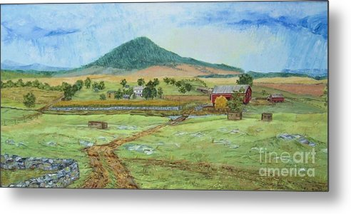 Landscape With Hill In Center Background Metal Print featuring the painting Mole Hill Panorama by Judith Espinoza