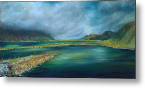 Mountain Metal Print featuring the painting Mountain Lake by Laurel Moore