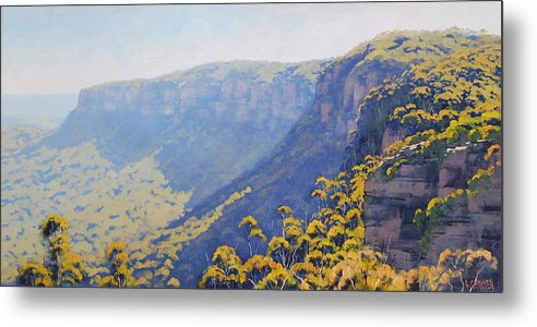 Blue Mountains Metal Print featuring the painting Narrow Neck Katoomba by Graham Gercken