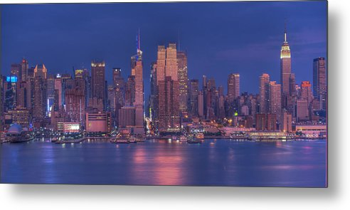 Nyc Skyline Metal Print featuring the photograph New York City by Kirit Prajapati