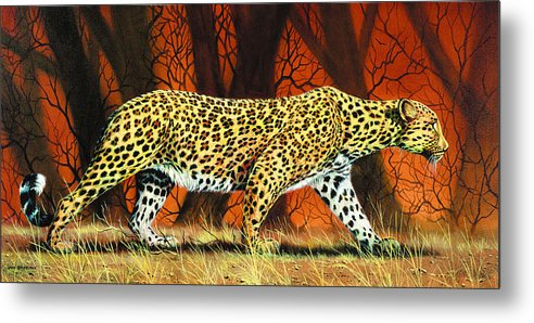 Leopard Metal Print featuring the painting On The Prowl by Don Griffiths