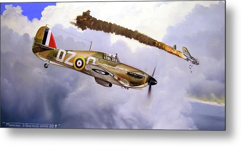 Aviation Art Metal Print featuring the painting One Of The Few by Marc Stewart