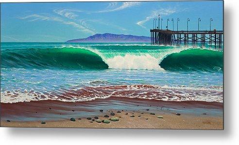 Ocean Metal Print featuring the painting Only In Ventura by Tim Laski