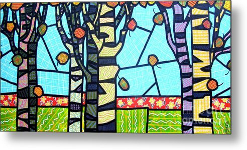 Birch Trees Metal Print featuring the painting Quilted Birch Garden by Jim Harris