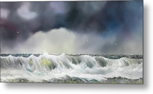 Seascape Metal Print featuring the painting Rolling Sea by Don Griffiths