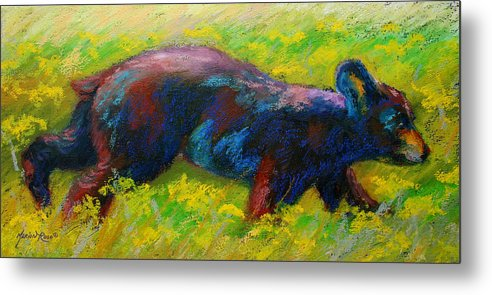 Western Metal Print featuring the painting Running Free - Black Bear Cub by Marion Rose
