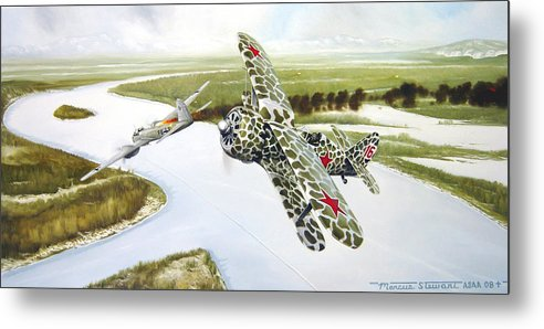 Aviation Metal Print featuring the painting Russian Roulette by Marc Stewart