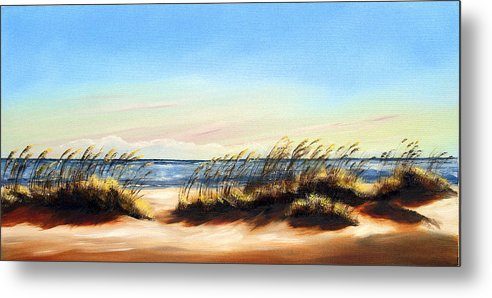 Beach Metal Print featuring the painting Sea Oats by Michele Snell