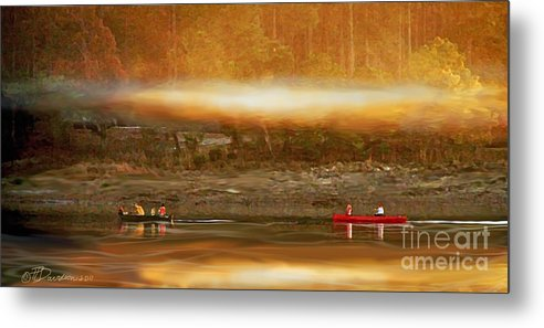Canoeing Metal Print featuring the photograph Smoke On The Water by Patricia L Davidson
