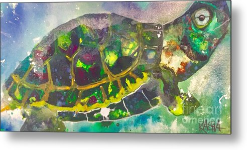 Turtle Metal Print featuring the painting Steady by Kasha Ritter