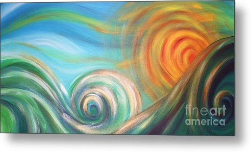 Sea Metal Print featuring the painting Sun Surf Sky by Reina Cottier