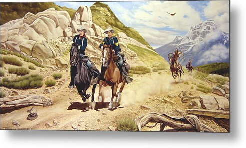 Western Metal Print featuring the painting The Chase by Marc Stewart