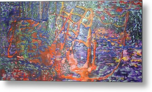 Abstract Metal Print featuring the painting The Hidden Playground by Heather Hennick
