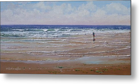 Seascape Metal Print featuring the painting The Shell Collector by Frank Wilson