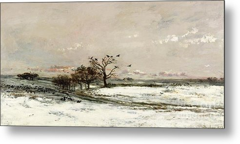 The Metal Print featuring the painting The Snow by Charles Francois Daubigny