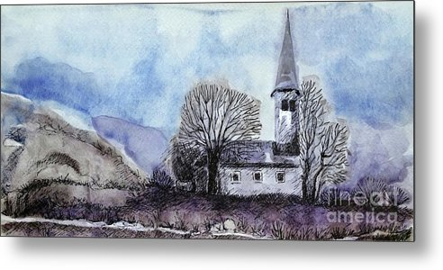 House Metal Print featuring the painting Tranquility by Jasna Dragun