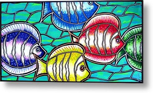Fish Metal Print featuring the painting Tropical Fish Swim by Jim Harris