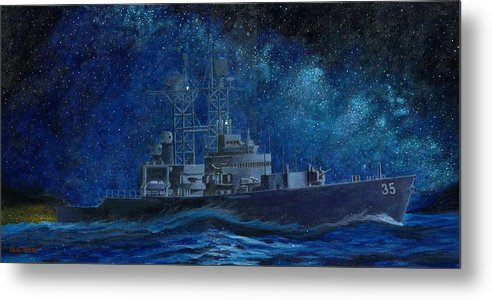 Uss Truxtun Dlgn-35 A Nuclear-powered Cruiser At Sea At Night Under The Milky Way Metal Print featuring the painting Uss Truxtun Dlgn-35 A Nuclear-powered Cruiser At Sea At Night Under The Milky Way by George Bieda