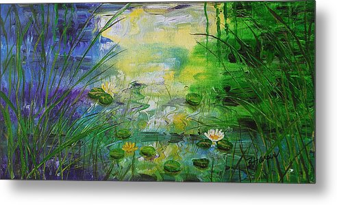 Water Lily Metal Print featuring the painting Water Lily Pond 1 by Barbara Harper