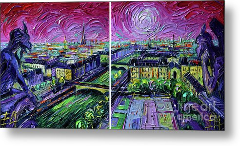 Paris Gargoyle Metal Print featuring the painting Paris View With Gargoyles - Textural Impressionist Diptych Oil Painting Mona Edulesco  by Mona Edulesco