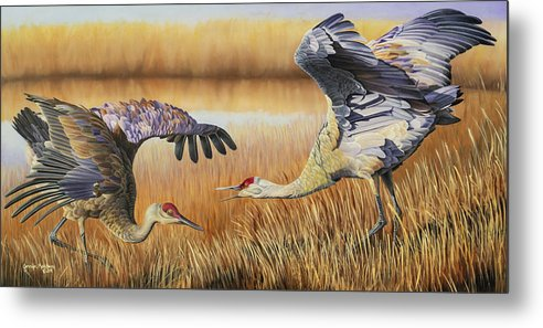Sandhill Cranes Metal Print featuring the painting Take A Bow by Jennifer Matthews