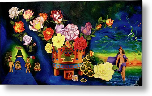 Red Rose Metal Print featuring the painting Mexican Flowers by Arte Dika By Jose Sanchez Martinez