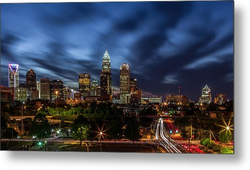 Charlotte Skyline Captured 04/13/12. Metal Print featuring the photograph Busy Charlotte Night by Chris Austin