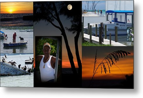 Man Ocean Boats Water Sunsets Pelicans Shipwreck Dog Water Birds Sea Grass Coast Floria Metal Print featuring the photograph Jesus by Becky Arvin