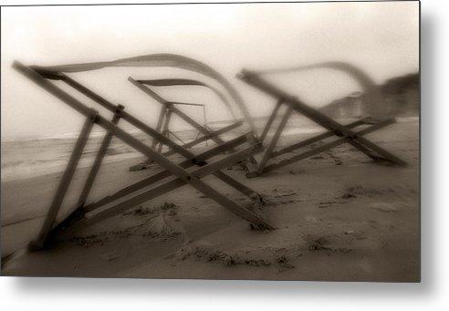 Beach Chairs Metal Print featuring the photograph Beach Chairs Profile by Isaac Silman