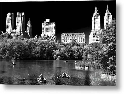 Rowing In Central Park Metal Print featuring the photograph Rowing In Central Park by John Rizzuto