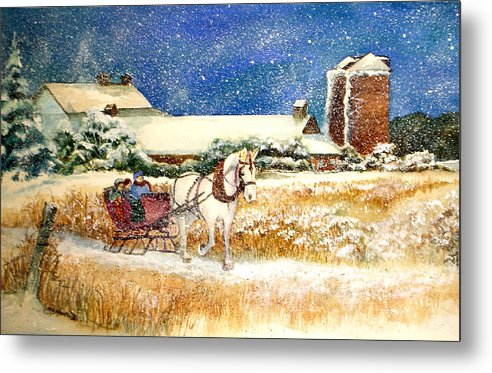 Watercolor;sleigh;horse;barn;silos;winter;snow;sleigh Ride;christmas; Metal Print featuring the painting Sleigh Ride At Brickers by Lois Mountz