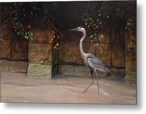 Wildlife Metal Print featuring the painting Along The Cuyahoga by Ed Yanok