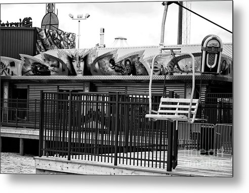 Empty Chair Lift Metal Print featuring the photograph Empty Chair Lift Infrared by John Rizzuto