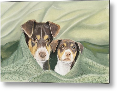 Dogs Metal Print featuring the pastel Snuggle Buddies by Barbara Keel