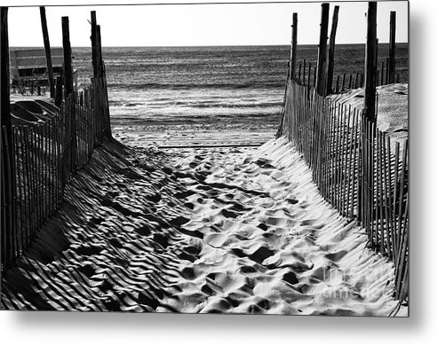 Beach Entry Metal Print featuring the photograph Beach Entry Black And White by John Rizzuto