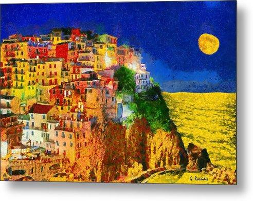 Rossidis Metal Print featuring the painting Manarola By Night by George Rossidis