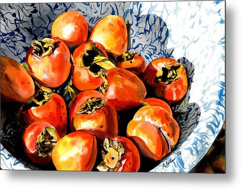 Food Metal Print featuring the painting Persimmons by Nadi Spencer