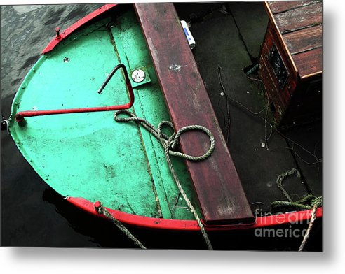 Green And Red Boat Metal Print featuring the photograph Green And Red Boat by John Rizzuto
