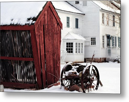 Red Barn In Winter Metal Print featuring the photograph Red Barn In Winter by John Rizzuto