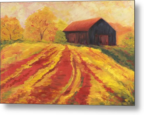 Landscape Metal Print featuring the painting Autumn Barn by Amy Welborn