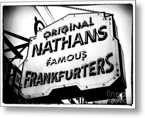Nathans Famous Frankfurters Metal Print featuring the photograph Nathans Famous Frankfurters by John Rizzuto