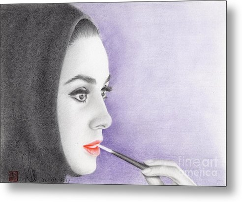 Greeting Cards Metal Print featuring the drawing Audrey Hepburn by Eliza Lo