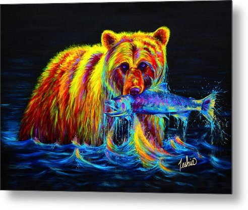 Grizzly Metal Print featuring the painting Night Of The Grizzly by Teshia Art